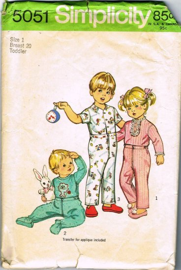 70's Simplicity Sewing Pattern 5051 Toddler Boys or Girls Pajamas Pj's Footed Crawler Size 1 CUT