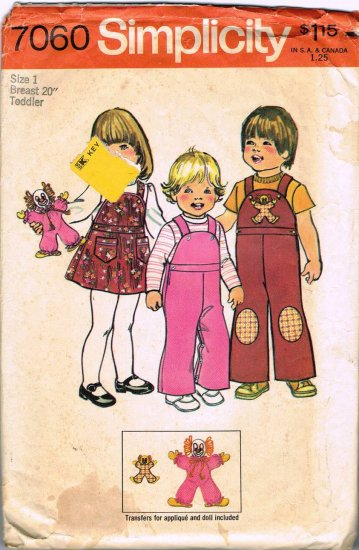 Simplicity Sewing Pattern 7060 Toddler Girls or Boys One Piece Overalls or Girls Jumper Size 1 CUT