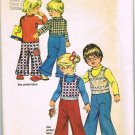 70's Simplicity Sewing Pattern 5871 Girls or Boys Pullover Vest Shirt Wide Leg Pants Size 4 CUT