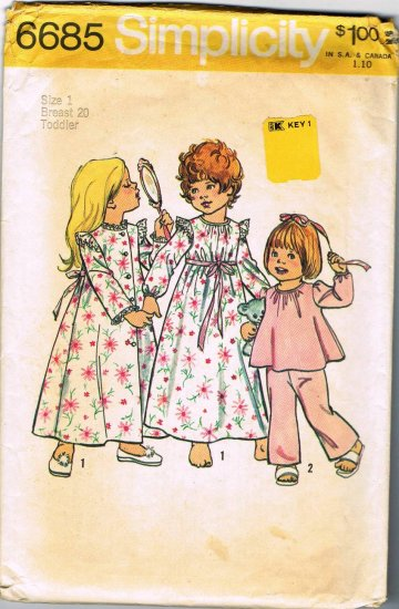 Vintage 70's Simplicity Sewing Pattern 6685 Toddler Girls Robe Nightgown PJ's Pajamas Size 1 CUT