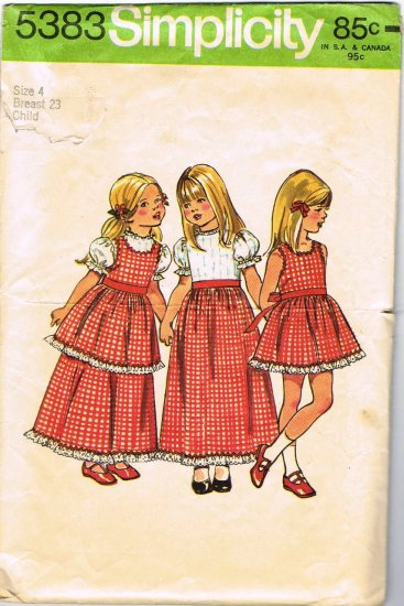 70's Simplicity Sewing Pattern 5383 Girls Pinafore Dress Long Short 3 styles Size 4 CUT