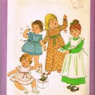 70's Simplicity Sewing Pattern 8279 Toddler Girls Long Short Dress Pinafore 4 Styles Size 3T CUT