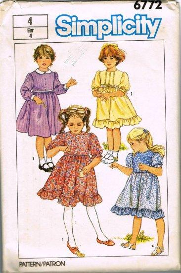 80's Simplicity Sewing Pattern 6772 Girls Dress Long Short Sleeve Ruffles Size 4 CUT