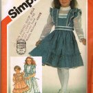 80's Simplicity Gunne Sax Sewing Pattern 5862 Girls Apron Prairie Dress 3 Styles Size 4 CUT