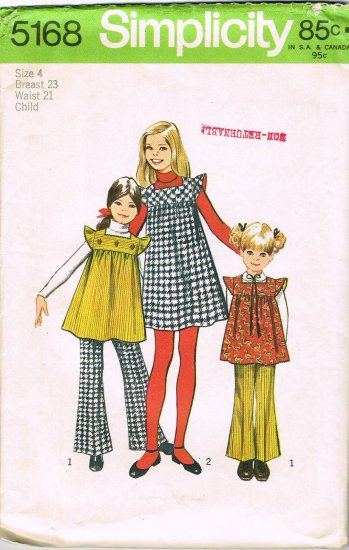 70's Simplicity Sewing Pattern 5168 Girls Jumper Tunic Bell Bottom Pants Size 4 CUT