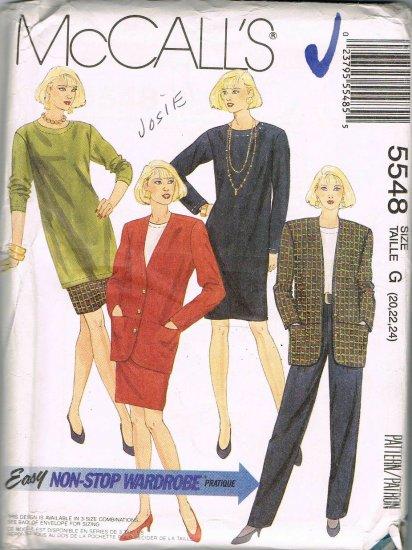 Jacket Skirt Dress Top Tunic Pants 90's McCalls Sewing Pattern 5548 Plus Size 20 22 24 UNCUT