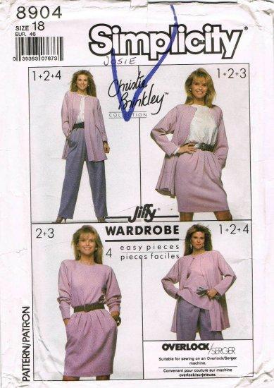 1980's Simplicity Sewing Pattern 8904 Christie Brinkley Top Pants Skirt Jacket Plus Size 18 UNCUT
