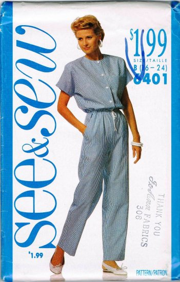 Vintage 80's See and Sew Butterick Sewing Pattern 6401 Jumpsuit Plus Size 16 18 20 22 24 UNCUT