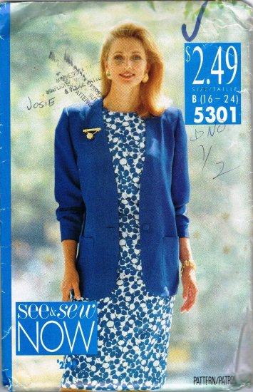 See and Sew Butterick Sewing Pattern 5301 Sleeveless Dress Jacket Plus Size 16 18 20 22 24 UNCUT