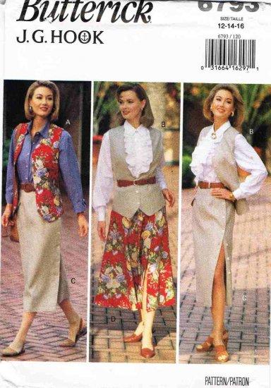 90's Butterick Sewing Pattern 6793 JG Hook Button Skirt Vest Shirt Blouse Size 12 14 16 UNCUT