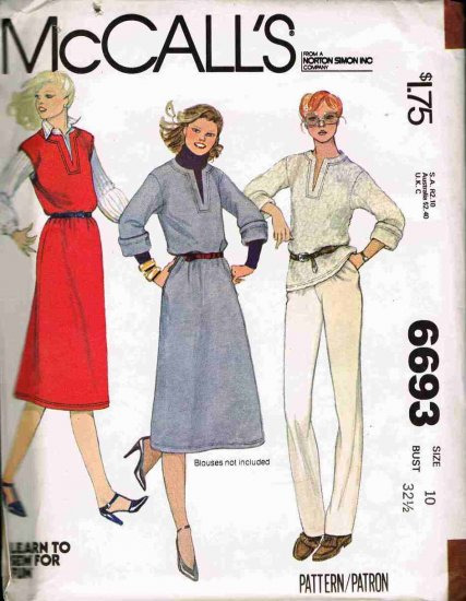 Vintage 1970's McCalls Sewing Pattern 6693 Pullover Jumper V-Neck Top Skirt Size 10 UNCUT