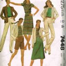 Vintage 1980's McCalls Sewing Pattern 7448 Shorts Skirt Jacket Blazer Pants T-Shirt Size 14 UNCUT