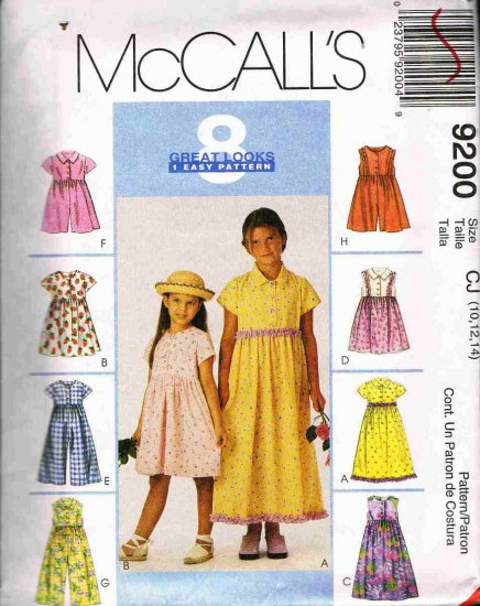 McCalls Sewing Pattern 9200 Girls Dress Romper or Jumpsuit Size 10 12 14 UNCUT
