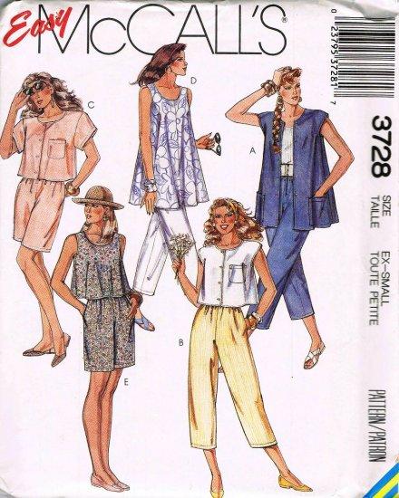 80's McCalls Easy Sewing Pattern 3728 Capri Pants Shorts Tunic Top Size 6 - 8 UNCUT