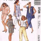 80's McCalls Easy Sewing Pattern 3728 Capri Pants Shorts Tunic Top Size 6 - 8 UNCUT