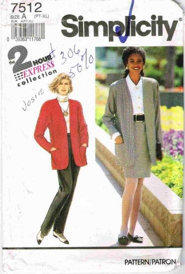 90's Simplicity Sewing Pattern 7512 Blazer Jacket Pants Skirt All sizes Petite 6 - Plus 24 UNCUT
