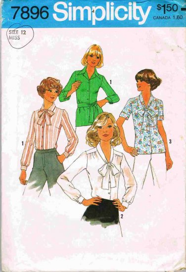 1970's Simplicity Sewing Pattern 7896 Blouse Top Long or Short Sleeve with Tie Size 12 UNCUT