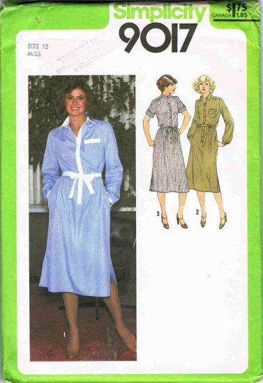 70's Simplicity Sewing Pattern 9017 Button Front Shirt Dress Long Short Sleeve Size 12 UNCUT