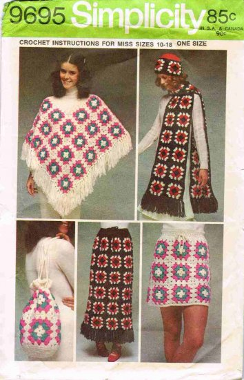 Granny Squares Simplicity Crochet Craft Pattern 9695 Misses Poncho Scarf Hat Bag Skirt Size 10 - 20
