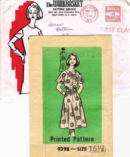 Vintage 1980 The Workbasket Mail Order Sewing Pattern 9398 Dress Plus Size 16 1/2 UNCUT MO113