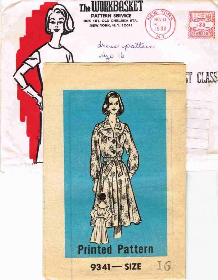 Vintage 1980 The Workbasket Mail Order Sewing Pattern 9398 Button Front Dress Size 16 UNCUT MO114