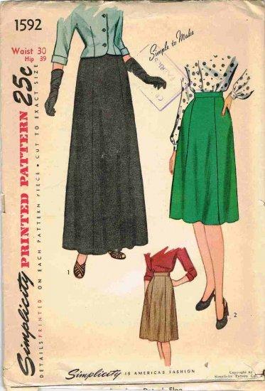 Vintage 40's Simplicity Sewing Pattern 1592 Short or Long Evening Skirt Waist 30 CUT