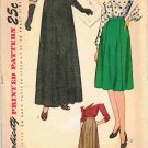 Vintage 40's Simplicity Sewing Pattern 1592 Short or Long Evening Skirt Waist 30 CUT