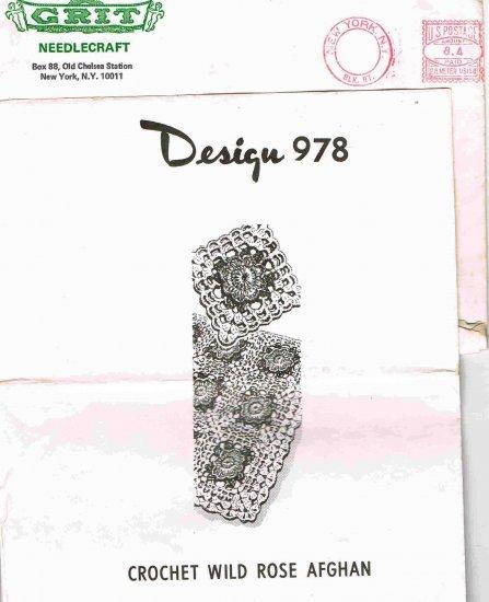 Vintage 70's Grit Needlecraft Mail Order Pattern Design 978 Crochet Wild Rose Afghan MO 118