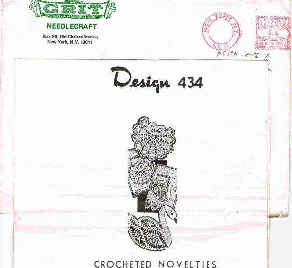 70's Grit Needlecraft Mail Order Pattern Design 434 Crochet Swan Shell Pocket Edging for Towels