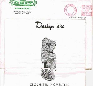 70's Grit Needlecraft Mail Order Pattern Design 434 Crochet Swan Shell Pocket Edging for Towels