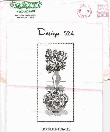 Vintage 70's Grit Needlecraft Crochet Mail Order Pattern Design 524 Crocheted Flowers MO 115