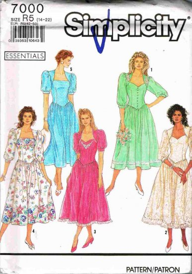 90's Simplicity Sewing Pattern 7000 Drop Waist Full Skirt Dress Size 14, 16, 18, 20, 22 Plus UNCUT