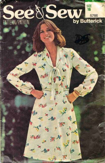 70's See and Sew Butterick Sewing Pattern 5766 Long Sleeve A Line Dress with V Neck Size 16 UNCUT