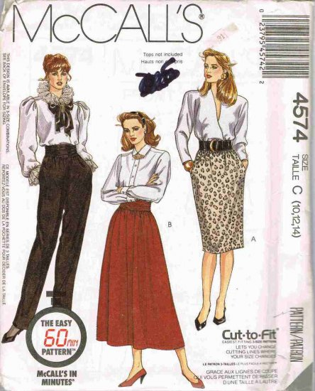 80's McCalls in Minutes Sewing Pattern 4574 Pull On Pants Skirt Cumberbund Size 10, 12, 14 UNCUT