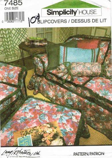 Simplicity House Sewing Pattern 7485 Slipcovers Slipcover Chair Ottoman Foot Stool Sofa Couch