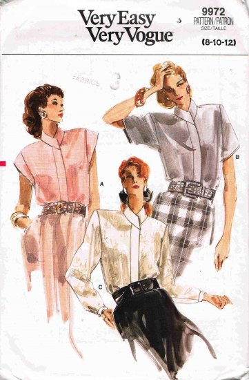80's Very Easy Vogue Sewing Pattern 9972 Blouse with Shaped Collar 3 styles Size 8 10 12 UNCUT