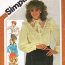 Vintage 1980's Simplicity Sewing Pattern 5303 Tie Collar Ruffled Blouse in 4 styles Size 12 UNCUT