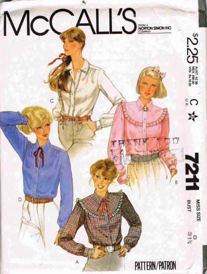 1980's McCalls Sewing Pattern 7211 Western Style Ruffled Blouse Long Sleeve in 4 styles Size 8 UNCUT