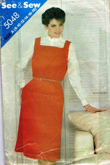 1980's Butterick See & Sew Sewing Pattern 5048 Square Neck Jumper Size 8 10 12 14 16 18 UNCUT