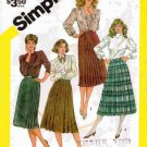 Vintage 1980's Simplicity Sewing Pattern 6082 Pleated Skirt in 4 Styles Size 12 UNCUT