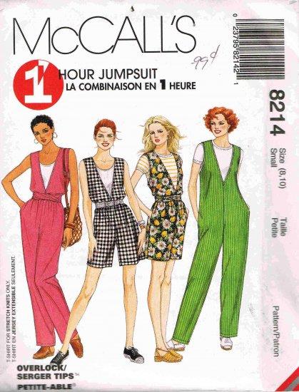 90's McCalls1 Hour Sewing Pattern 8214 T-Shirt Jumpsuit Romper Sash Size Small 8 10 UNCUT