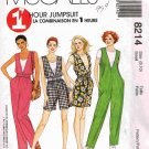 90's McCalls1 Hour Sewing Pattern 8214 T-Shirt Jumpsuit Romper Sash Size Small 8 10 UNCUT