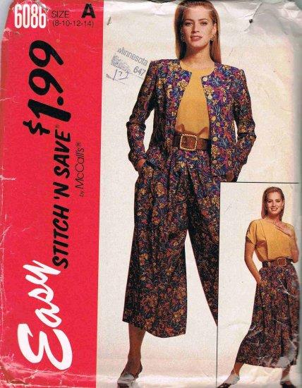 90's McCalls Easy Stitch n Save Sewing Pattern 6086 Jacket Blouse Split Skirt Size 8 10 12 14 UNCUT