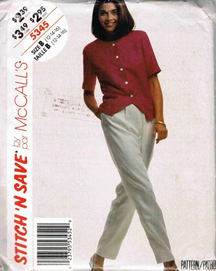1990's McCalls Easy Stitch n Save Sewing Pattern 5345 Top Blouse Pants Size 12, 14, 16 UNCUT