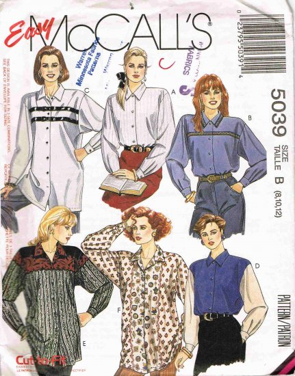 1990's McCalls Easy Sewing Pattern 5039 Long Sleeve Blouse Big Shirt Size 8 10 12 UNCUT