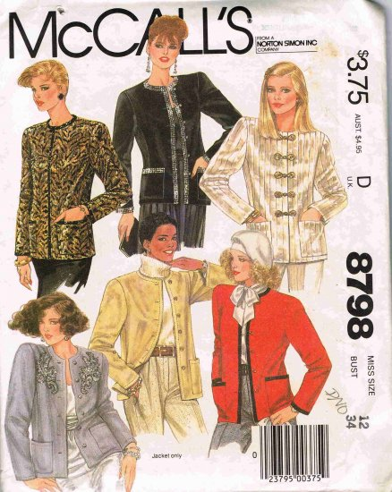 1980's McCalls Sewing Pattern 8798 Long Sleeve Button Front Jacket Size 12 UNCUT
