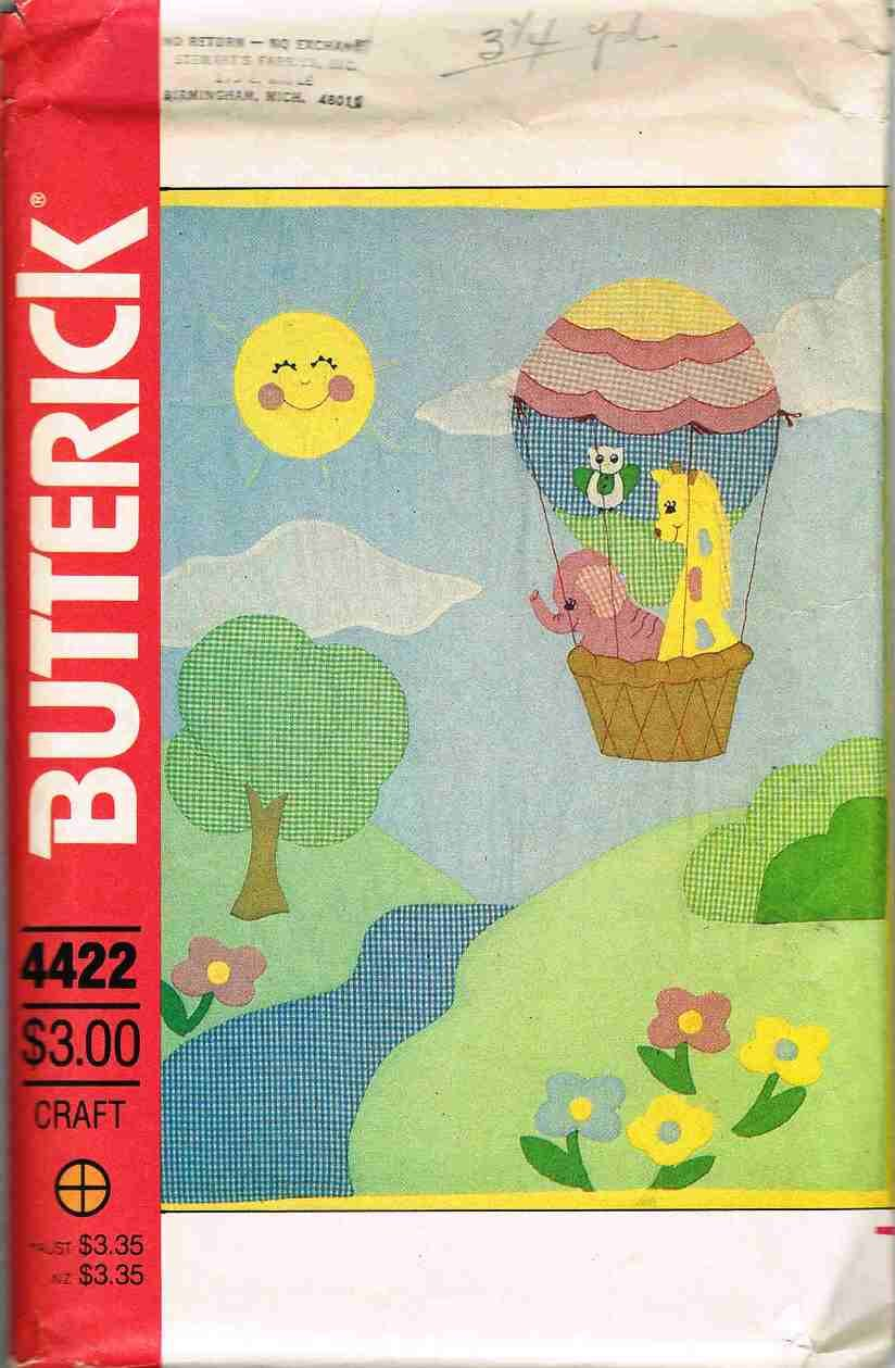 Vintage Butterick Craft Sewing Pattern 4422 Baby Childs Quilt Appliqued UNCUT
