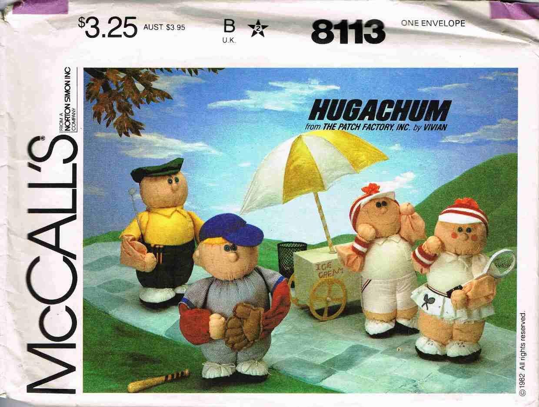1980's McCalls Craft Sewing Pattern 8113 Hugachum Sports Figure Dolls Golfer Tennis Baseball UNCUT