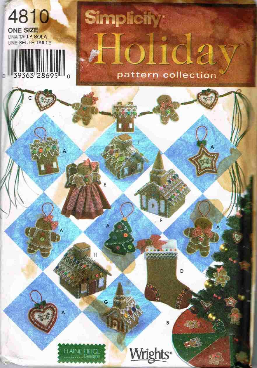 Simplicity Sewing Craft Pattern 4810 Christmas Ornaments Tree Skirt Topper Stocking Swag House UNCUT