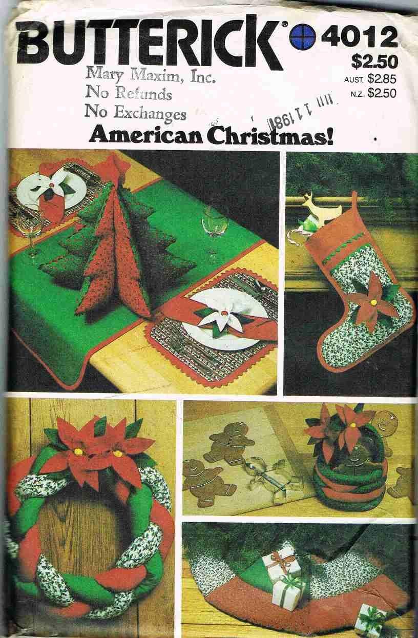 80's Butterick Craft Sewing Pattern 4012 Christmas Stocking Tree Skirt Basket Wreath UNCUT